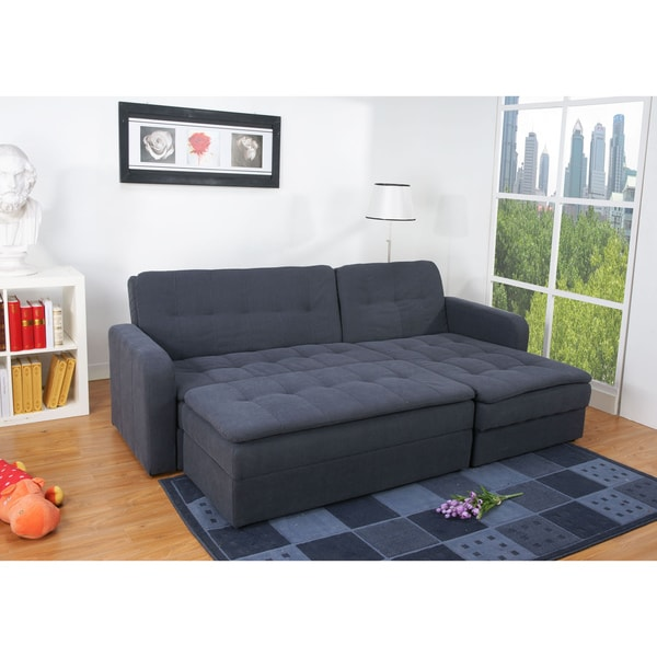 Denver steel finish double ottoman sectional sofa bed for Sectional sofa bed overstock