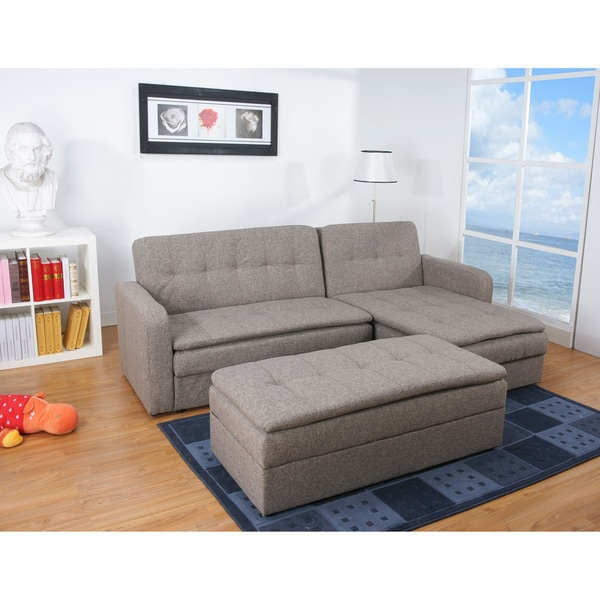 Denver Rind Finish Double Cushion Storage Sectional Sofa Bed and Ottoman Set