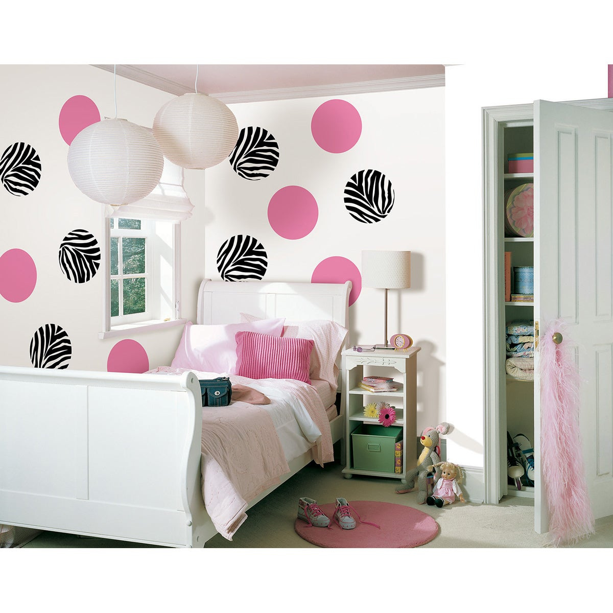 Wall Pops 'Go Wild Zebra and Flirt Pink Dots' Wall Decal Set
