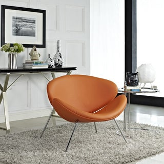 Nutshell Orange Vinyl Mid-century Style Lounge Chair