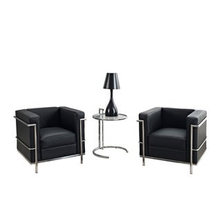Black Leather Armchairs and Side Table