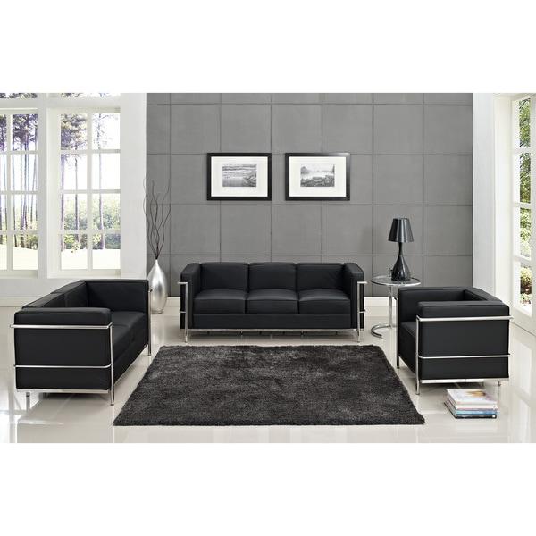 Black Leather Living Room Set