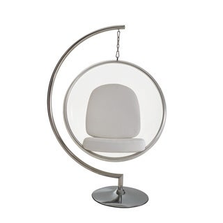 Eero Aarnio Style Bubble Chair with White Pillows