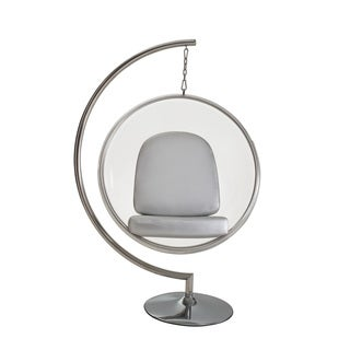 Eero Aarnio Style Bubble Chair and Stand with Silver Pillows