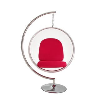 Eero Aarnio Style Bubble Chair and Stand with Red Pillows