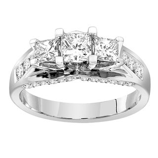 14k Gold 1 1/2ct TDW Certified Diamond 3-stone Engagement Ring (H-I, SI2)