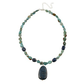 Glitzy Rocks Sterling Silver Lapis and Turquoise Necklace