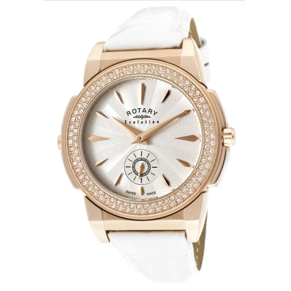 Rotary Women's 'Evolution TZ2' White Genuine Leather Watch