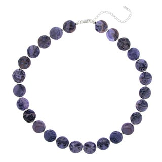 Glitzy Rocks Sterling Silver Amethyst Disc Necklace