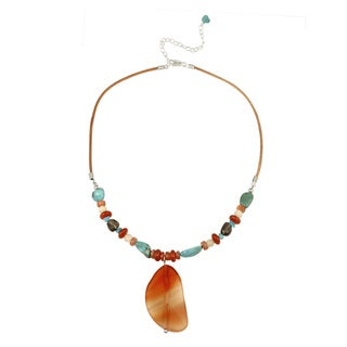 Glitzy Rocks Sterling Silver Multi-gemstone Cord Drop Necklace