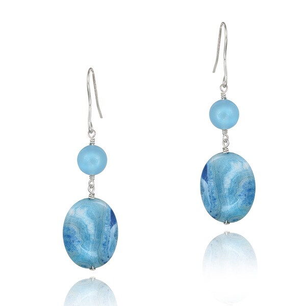 Glitzy Rocks Silver Blue Agate and Blue Quartz Dangling Earrings