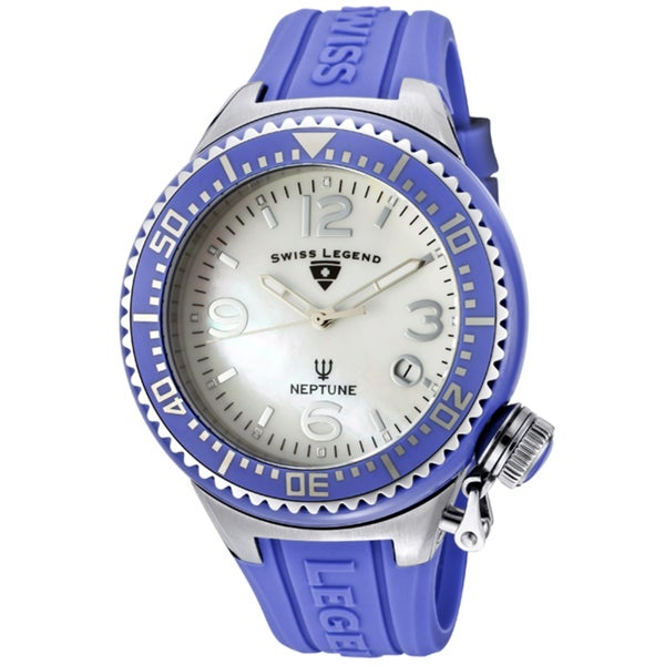 Swiss Legend Unisex 'Neptune Ceramic' Blue Silicone Watch