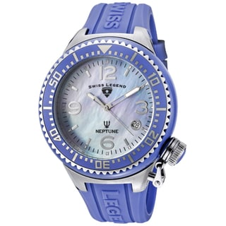 Swiss Legend Unisex 'Neptune Ceramic' Blue Silicone Watch