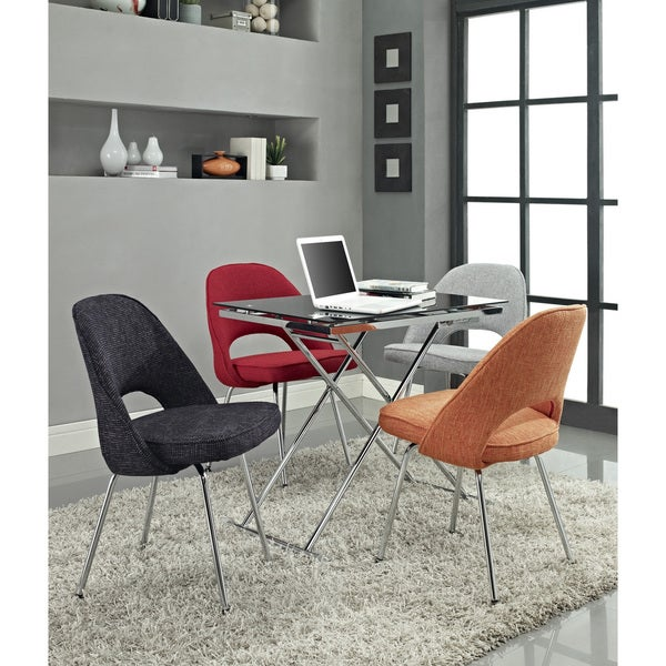 Saarinen Style Tweed Fabric Side Chairs (Set of 4)