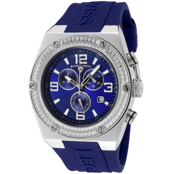 Swiss Legend Men's 'Throttle' Blue Silicone Watch