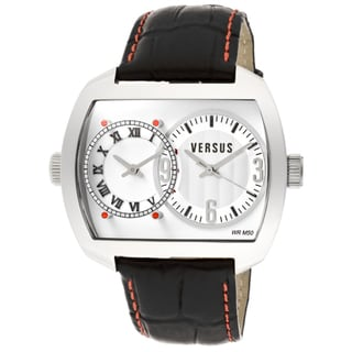 Versus Unisex 'Easy' Black Genuine Leather Watch