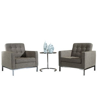 Florence Style Oatmeal Woolen Armchairs and Eileen Grey Side Table Set