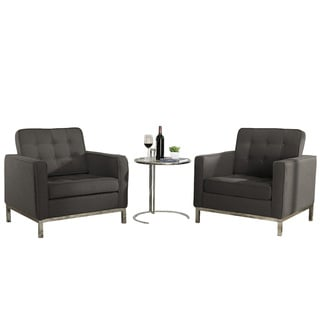 Florence Style Chocolate Woolen Armchairs and Eileen Grey Side Table Set