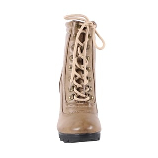 Jacobies by Beston Women's 'Tina-1' Stiletto Taupe Lace-Up Bootie