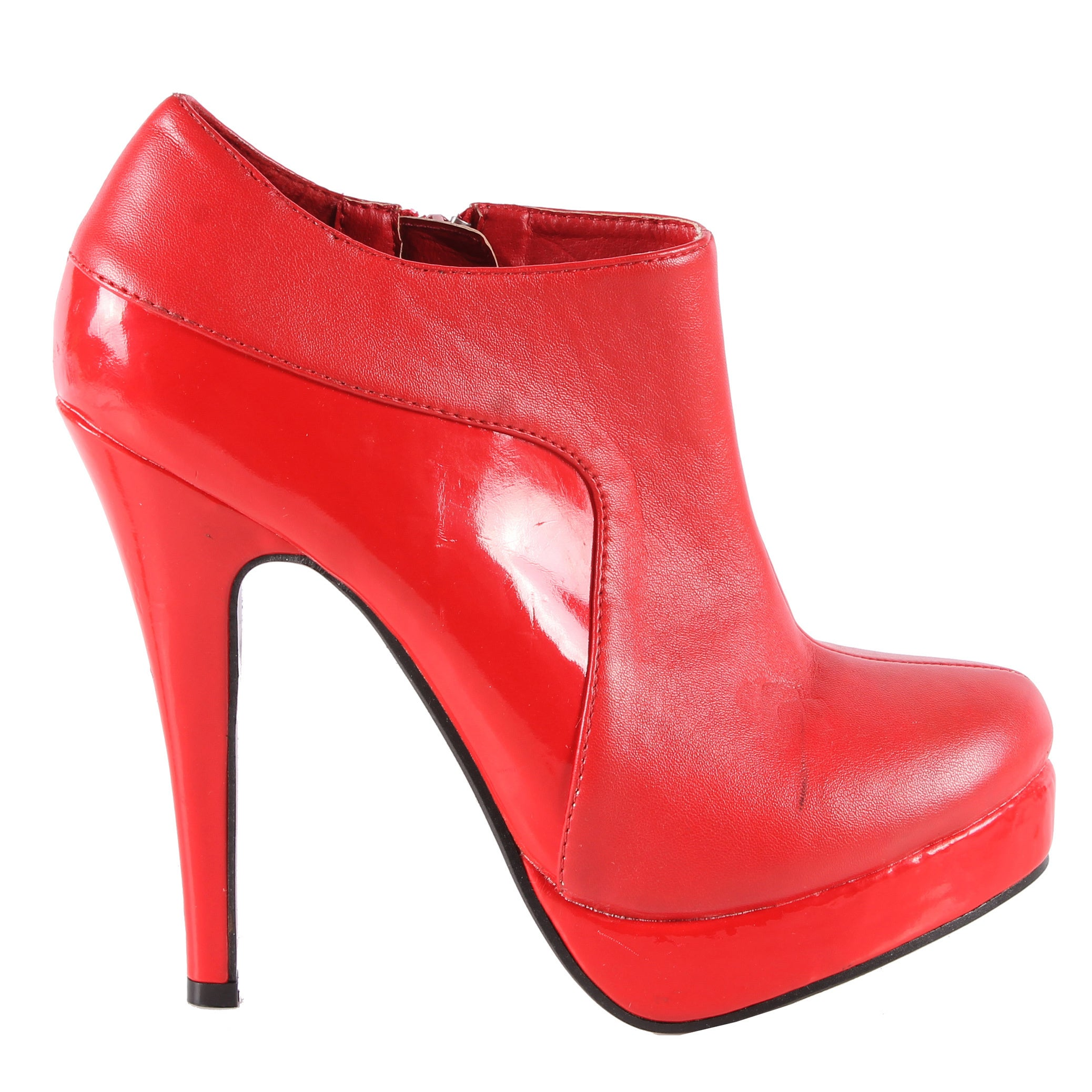 Overstock.com Jacobies by Beston Women's 'Sophia-45' Red Stiletto Ankle Bootie at Sears.com