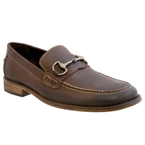 Giorgio Brutini Men's Brown Leather Slip-on Loafers