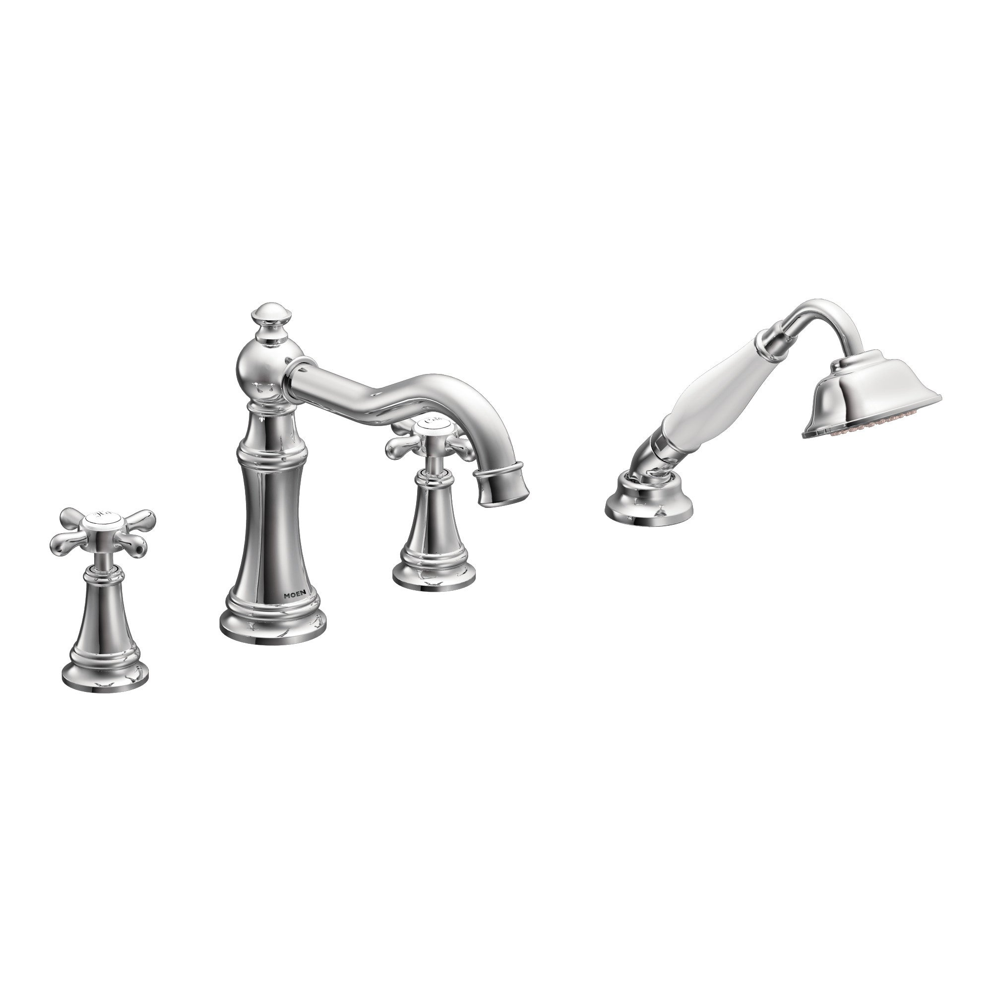 Moen Chrome Two-Handle Tub Faucet Includes Hand Shower