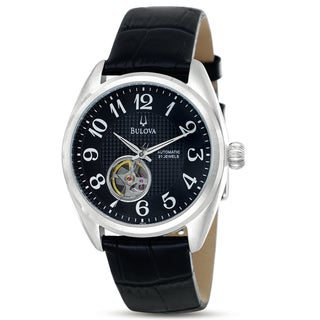 Bulova Men's Mechanical Black Dial Skeleton Window Automatic Watch