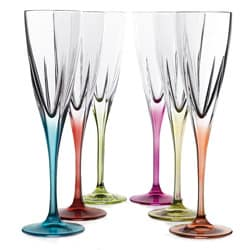 Fusion Multicolor Champagne Glasses (Set of 6)
