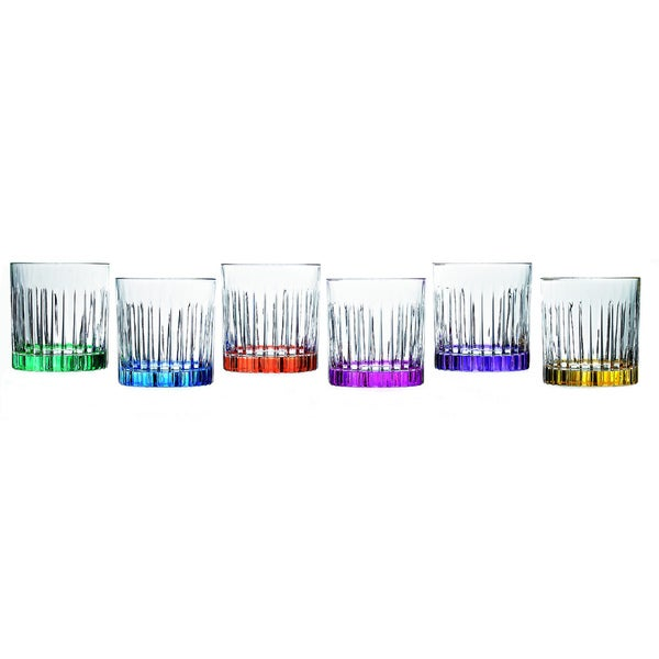 Lorren Home Trend Timeless Multicolor Double Old Fashioned Tumblers (Set of 6)