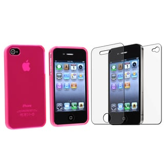 BasAcc Hot Pink TPU Case/ Anti-glare Protector for Apple iPhone 4/ 4S