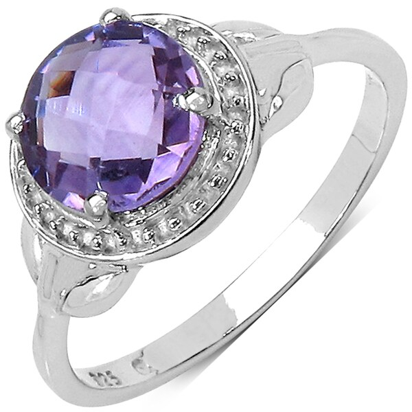 Malaika Sterling Silver Round-cut Amethyst Ring