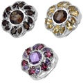 Malaika Sterling Silver Smokey Topaz, Citrine or Amethyst and Rhodolite Ring