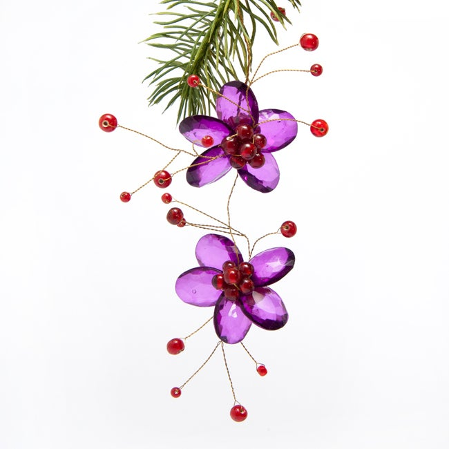 Purple Acrylic Flower Hanging Christmas Ornament (India)