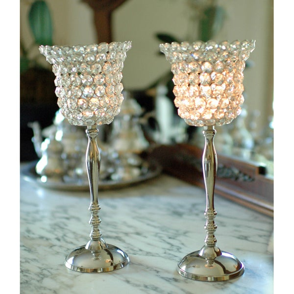 Alm Nickel-plated Aluminum Crystal Candle Holders (Set of 2) (India)