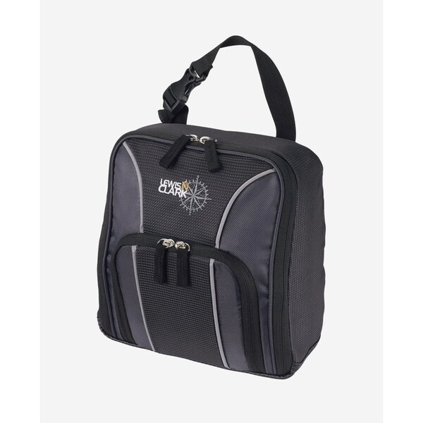Lewis N. Clark Black Pocketed Polyester/PU Hanging Toiletry Kit
