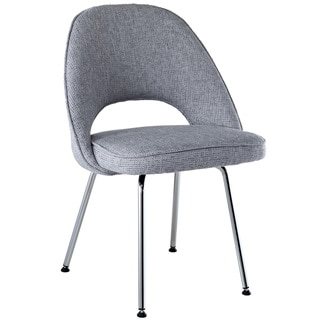 Light Grey Fabric Saarinen Style Side Chair