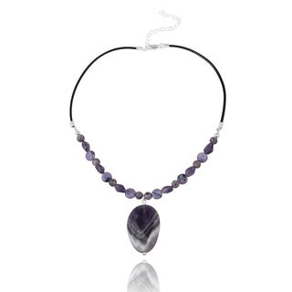 Glitzy Rocks Sterling Silver Amethyst and Leather Drop Necklace