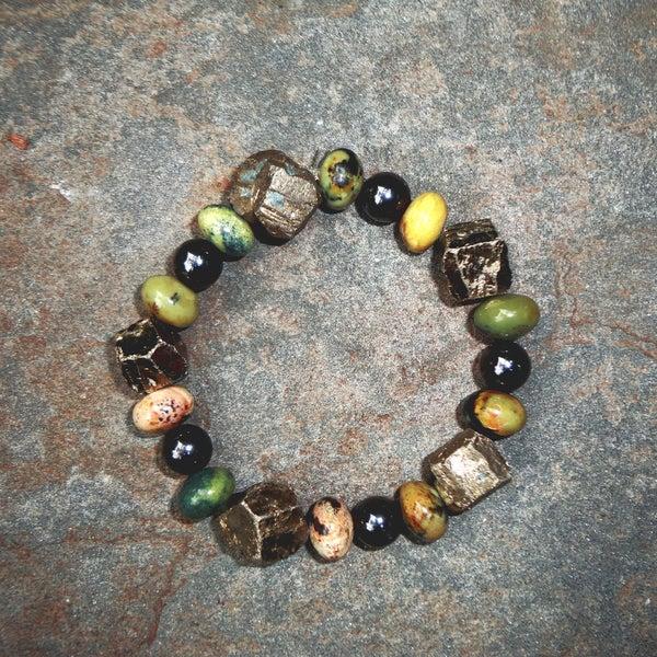 Pavcus Designs Pyrite Nugget Gemstone Stretch Bracelet