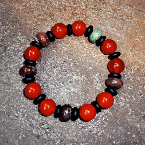 Pavcus Designs Carnelian Gemstone Stretch Bracelet
