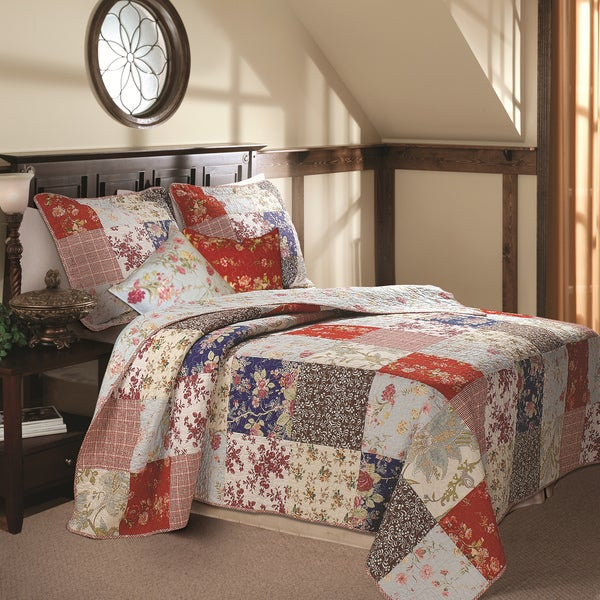 Greenland Home Fashions Amelia Deluxe 5-piece Floral/Plaid Vermicelli Quilted Bedspread Set