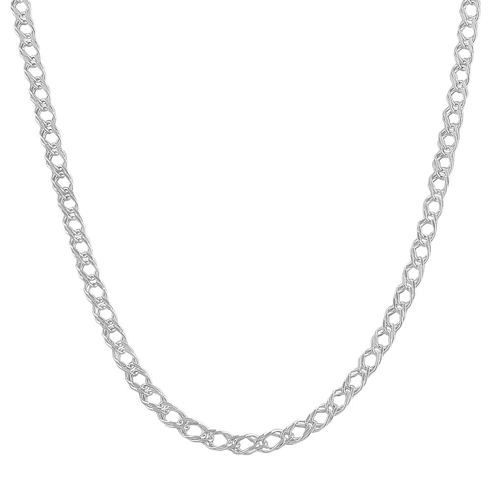 Fremada Sterling Silver 2.8mm Fancy Double Open Curb Link Chain (16-30 inch)