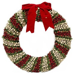 White and Red Pepper Berry Wreath (30-inch)