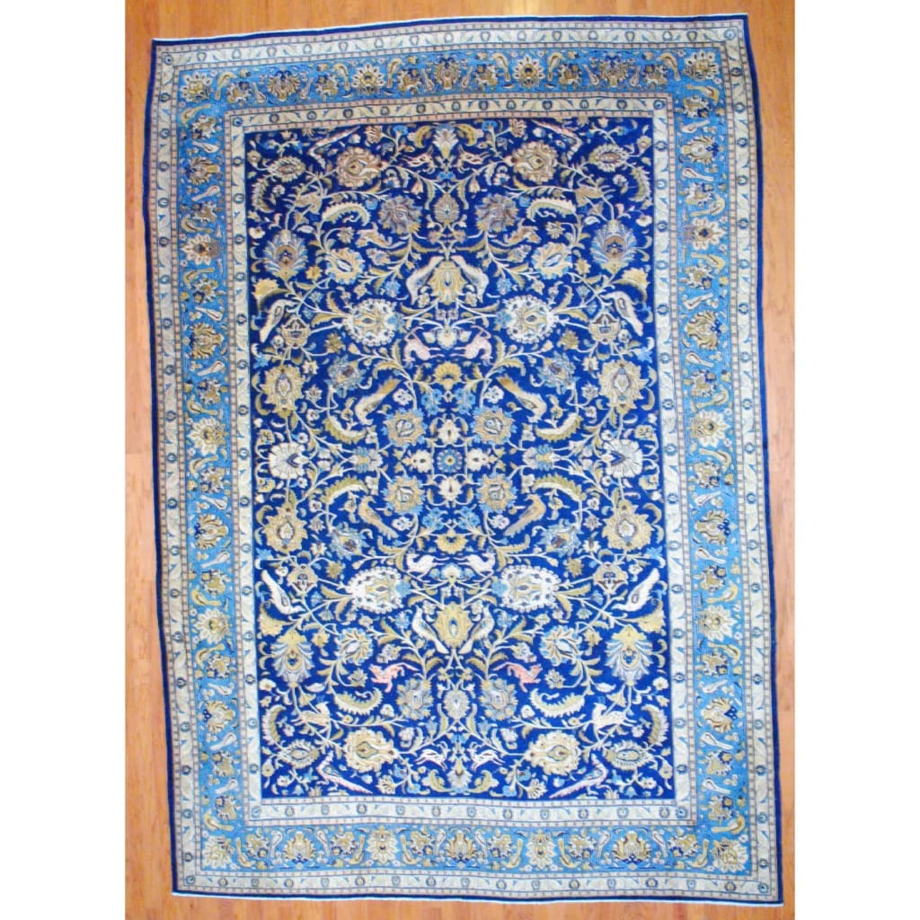 12 10 X 14 11 Persian Karajeh Hand Knotted Wool: Persian Hand-knotted Isfahan Navy/ Light Blue Wool Rug (10