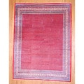 Persian Hand-knotted Mir Red/ Ivory Wool Rug (9'6 x 12'6)