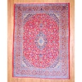 Persian Hand-knotted Kashan Red/ Navy Wool Rug (9'7 x 12'10)