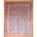 Persian Hand-knotted Kashan Navy/ Rust Wool Rug (10' x 12'3)