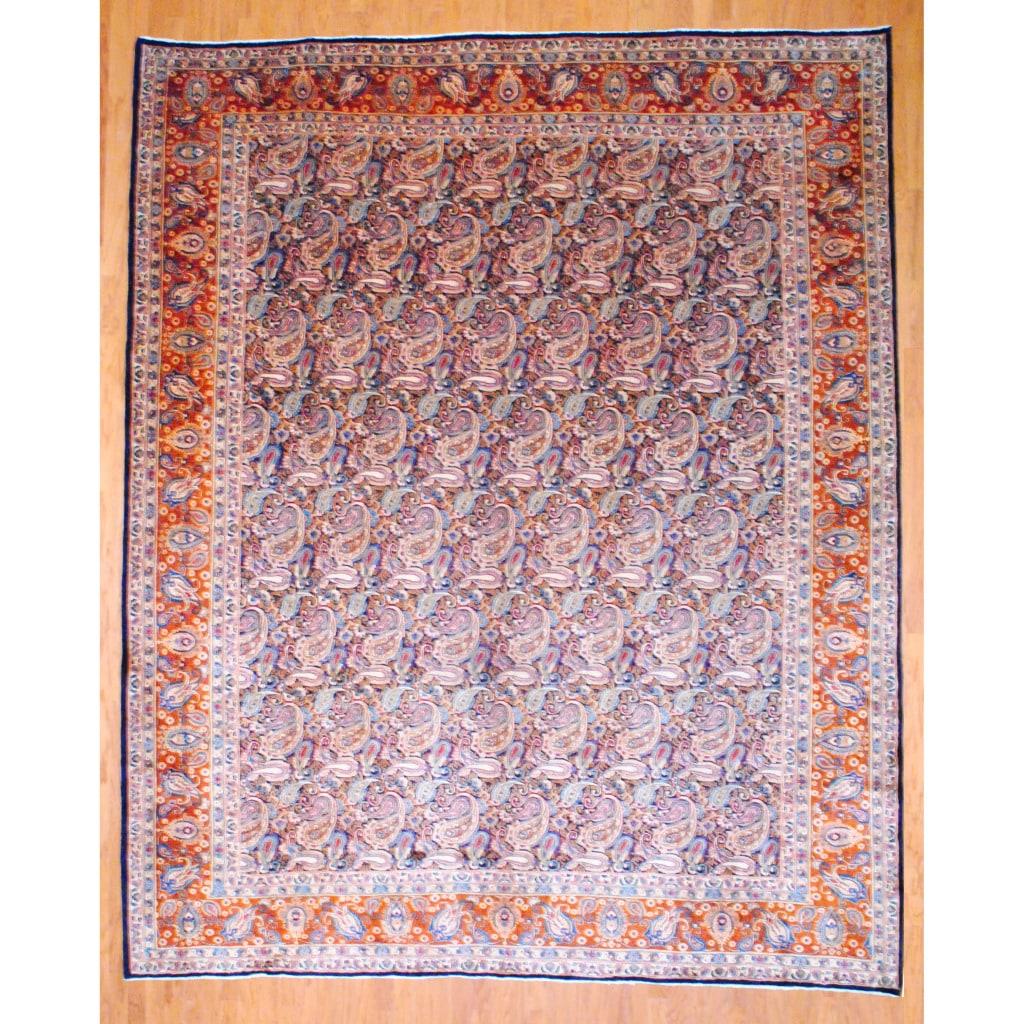Herat Oriental Persian Hand-knotted Kashan Navy/ Rust Wool Rug (10' x 12'3)
