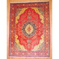Persian Hand-knotted Tabriz Red/ Ivory Wool Rug (9'5 x 13')