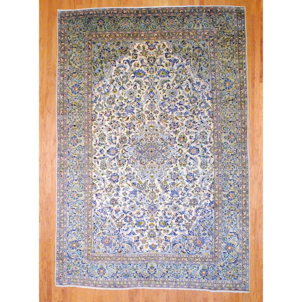 Persian Hand-knotted Kashan Ivory/ Gold Wool Rug (9'1 x 13'8)