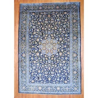 Persian Hand-knotted Isfahan Navy/ Light Blue Wool Rug (9'9 x 14'6)